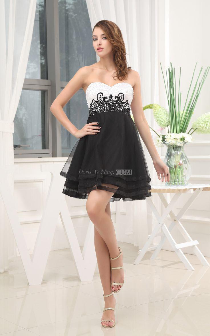Sweetheart Appliqued Mini A-Line Short Graduation Dress college Graduation High school, Graduation Dress For 8th Grade #white #burgundy #black #plussize #DorisWedding.com