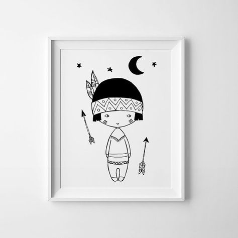 Little Indian Boy Nursery decor Scandinavian print by MiniLearners