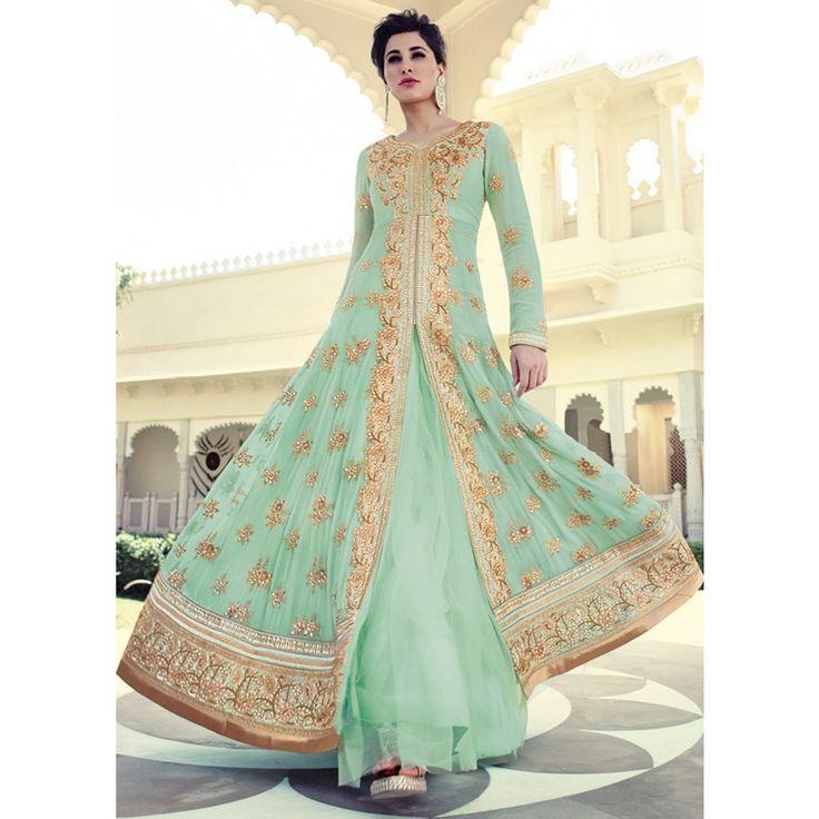 Nargis Sea Green and Gold Embellished Anarkali Suit