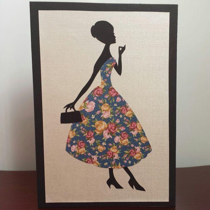 1960s Fashion Silhouette Greeting Card #vintage #1960s #fashion #lady #silhouette #greetingcard #handmadecards #petalsandperfumecards