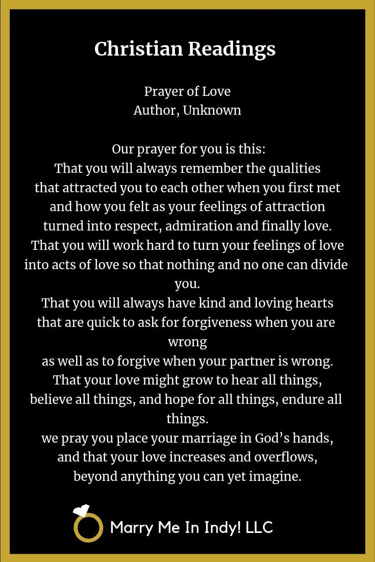 Christian Wedding Readings and Scripture Prayer of Love