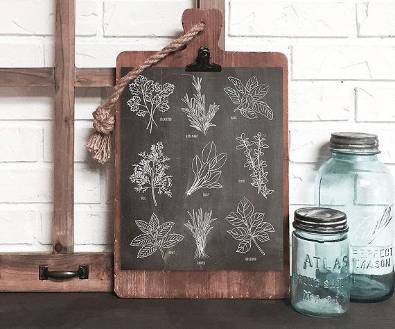 botanical herb kitchen print kitchen wall art by DevonDesignCo