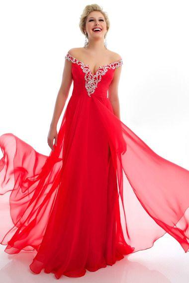 Shop Prom Dresses 2013 Plus Size Prom Dresses Red Empire Waist Off The Shoulder & gowns inexpensive, formal & vogue party dresses boutique online.