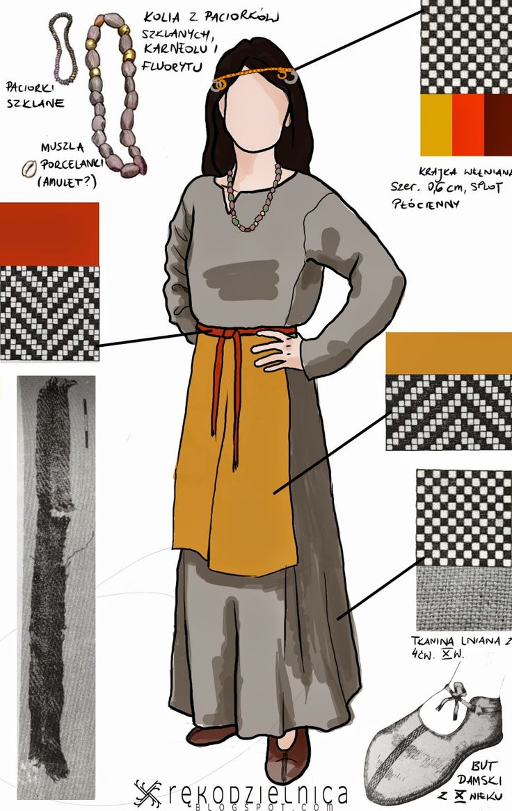 Medieval woman clothing, slavic, findings from Opole in Poland.