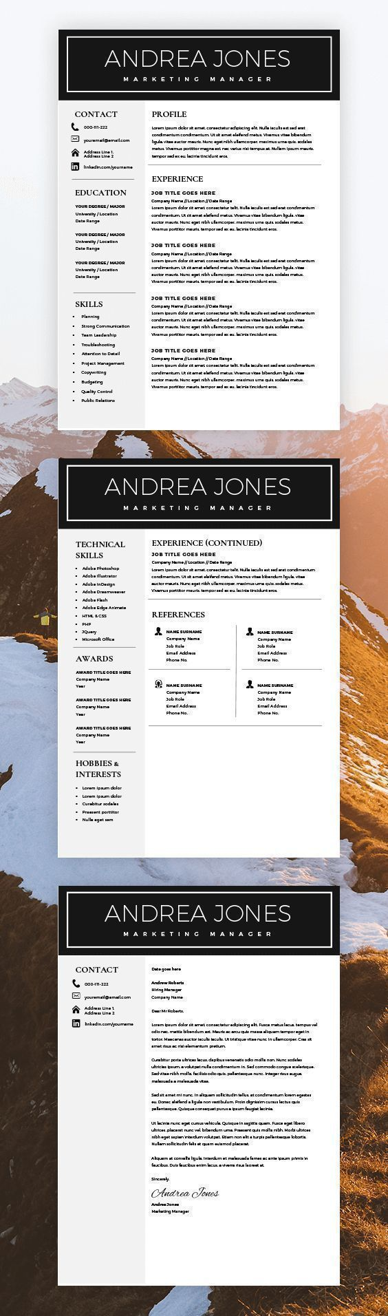 Minimal Resume Template 3 page Multipurpose CV