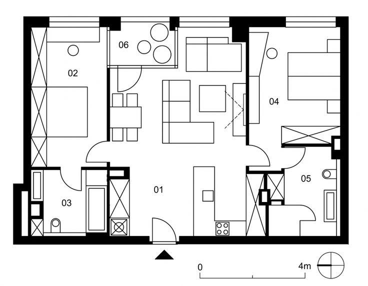 01 vstupný a denný priestor 38,7 m² 02 spálňa 1 15,5 m² 03 kúpeľňa 1 6,6 m² 04 spálňa 2 16,8 m² 05 kúpeľňa 2 8,5 m² 06 loggia 3,9 m²