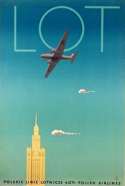 LOT Polish Airlines Polskie Linie Lotnicze Trepkowski Tadeusz vintage poster
