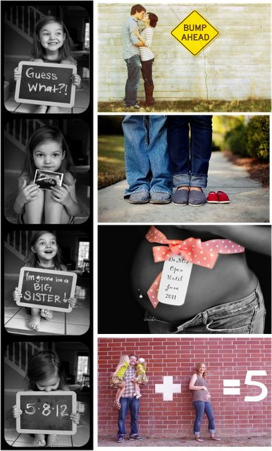 "How cute are these pregnancy pictures?! I especially love the ""bump ahead"""