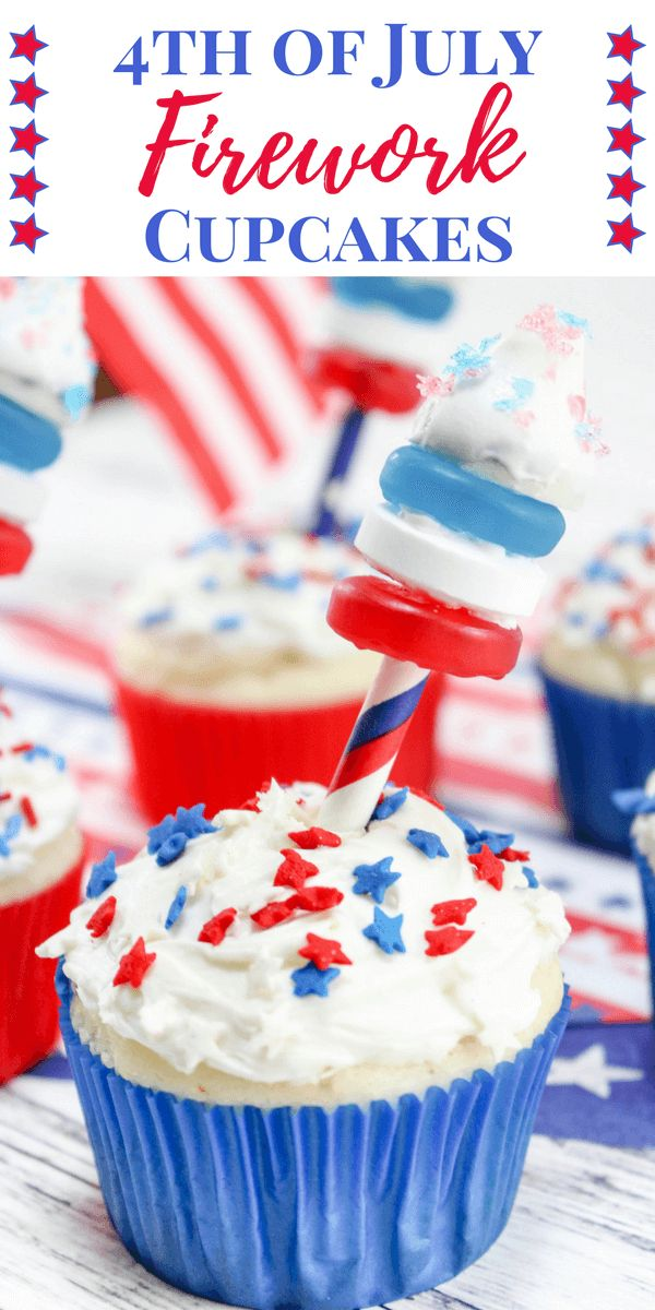 These 4th of July Firework Cupcakesfeaturing fireworks shooting out of the top make the perfect dessert to serve at your 4th of July party. With Pop Rocks, Hershey Kisses, Lifesavers, and sprinkles, this 4th of July dessert recipe is sure to be a crowd pleaser!