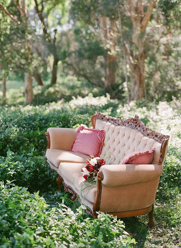Elegant Glamour sofa in the forest