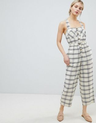 ef93f513a8e DESIGN Jumpsuit With Elasticated Waist And Button Detail In Check in ...