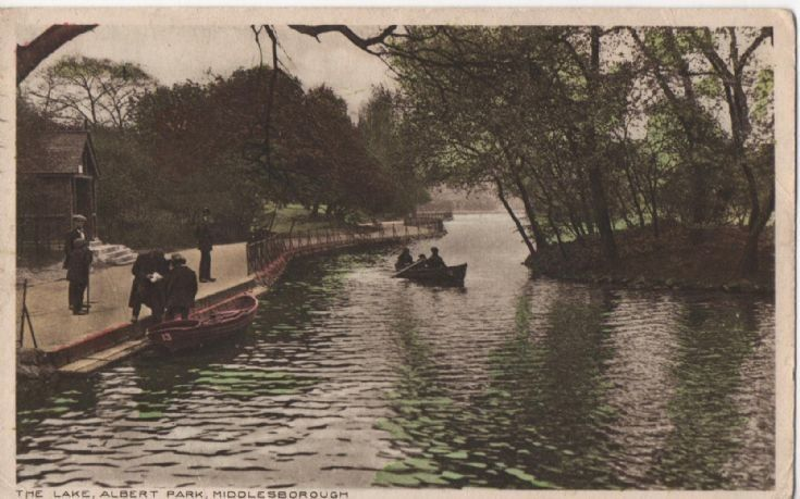 Albert Park Lake, Middlesbrough  Albert Park Lake, Middlesbrough - undated, but perhaps c1910 or so.