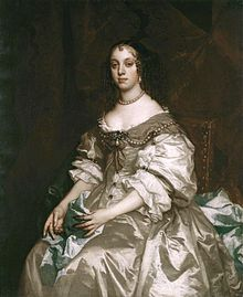 Queen Catherine in 1663, by Sir Peter Lely. She is credited for introducing the custom of drinking tea in Britain.