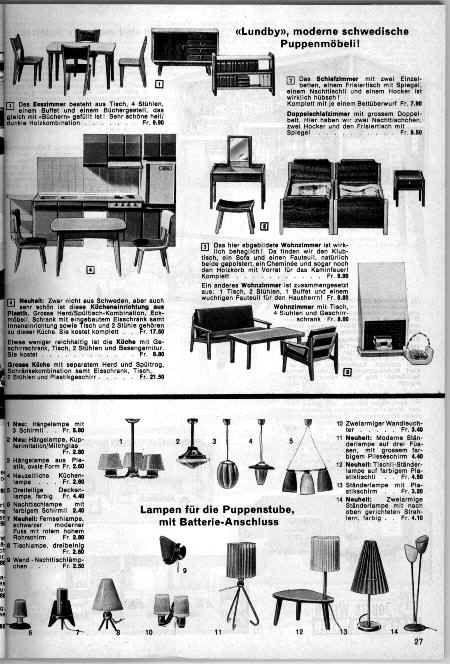 1963 64 Weber Catalogue Showing Lundby Modern Swedish Dollhouse