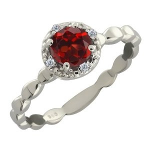 Gem Stone King  0.62 Ct Round Red Garnet and White Diamond 10k White Gold Ring  Suggested Price: 	$680.00  Price: 	$169.99