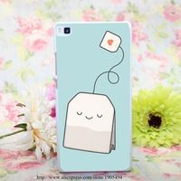 1427HQA Tea time Hard White Painted Case Cover for Huawei Ascend P6 P7 P8 P8 Lite Colorful Protective Case