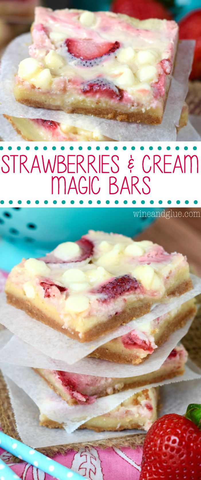 These Strawberries and Cream Magic Bars are pure magic. Made with fresh strawberries and a sugar cookie layer, they are seriously amazing!: