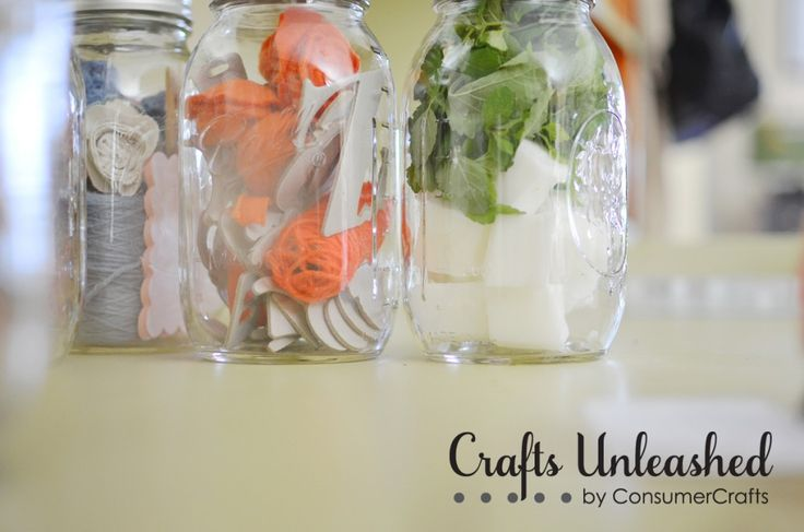 I LOVE this idea ... mason jars filled with craft supplies to encourage the recipient to get creative!