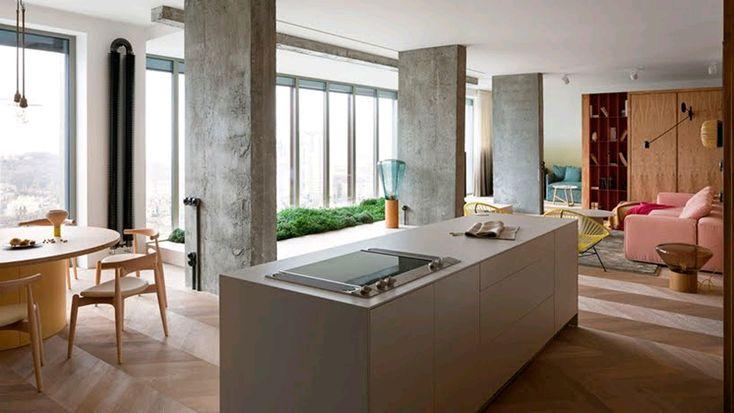 El estudio de interiores Olha Wood ha intervenido un piso con una vista al horizonte. #arquitectura #diseño #arte #tecnologia #interiorismo #tips #fractal_ea