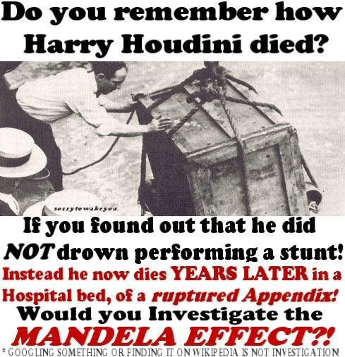 Houdini did not die due to a failed Chinese Water Tank trick. It is a common misconception that Houdini died either in the famed Chinese Water Tank trick, or immediately after being rescued from the device. This is a myth based in part by a popular 1953 Hollywood semi-biographical movie starring actor Tony Curtis. In reality, Houdini was nowhere near a stage when he died; he died at a Detroit, Michigan hospital, one week after his last performance.