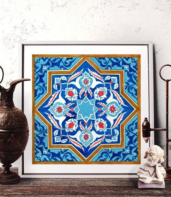 Mosaic Tile Design Watercolor Art, Traditional Turkish Ottoman Floral Home Decor, Moroccan Tile Design Wall Art Prints and Original Painting by HermesArts