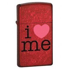 Zippo Slim Candy Apple Red Lighter, I Love Me by Zippo. $24.74. ATTRIBUTESFinish/Material:Candy Apple RedFuel:Lighter FluidGraphic:I Love MeSpecial Features:Windproof
