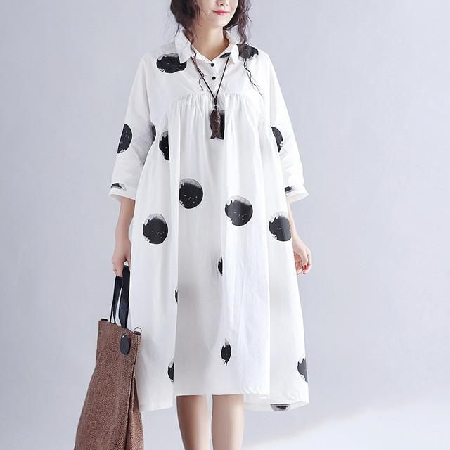 2017 Summer Women Dress New Printing Dots Loose Cotton Dress Pluz Size – Mitilen