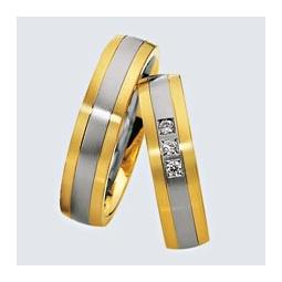 Verighete din aur alb cu aur galben si briliante. Cu interiorul bombat, pentru un confort maxim la purtare.