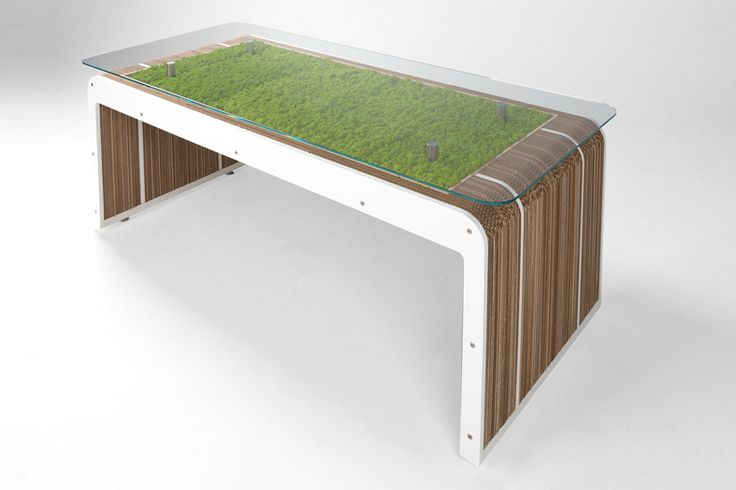 More Desk Plus Table with natural moss. Designed by Giorgio Caporaso for Lessmore. Fresh from Fuorisalone 2016
