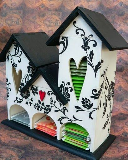 Tea house - makes me want to go to michaels to find some birdhouses to decorate!