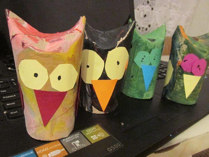 owl paper roll, sowy z rolek