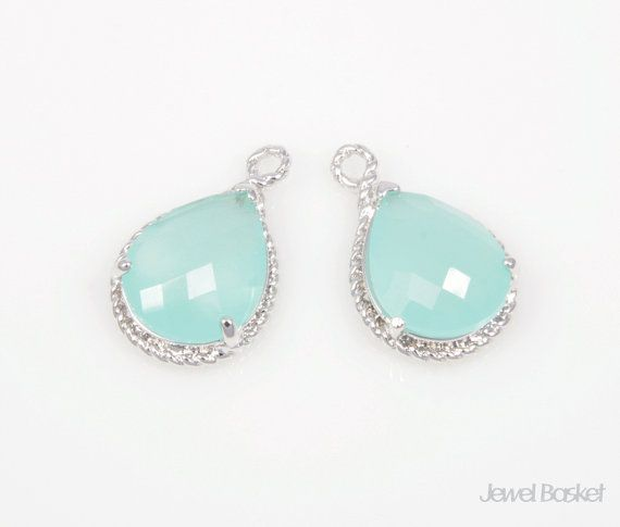 SMTS012-P (2pcs) / Cloudy Mint Color and Silver Framed Teardrop Pendant - 2pcs / 12mm x 18mm  - High Polished Silver Frame (Tarnish Resistant) - Cloudy Mint Color Glass - Brass and Glass / 12mm x 18mm - 2pcs / 1pack