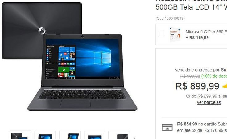 "Notebook Positivo Stilo XC5650 Intel Quad Core 4GB 500GB Tela LCD 14"" Windows 10 << R$ 89999 em 3 vezes >>"