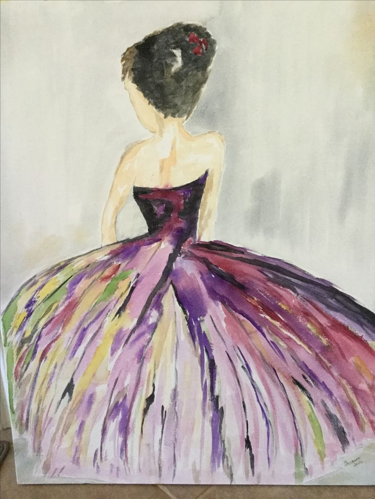 The Lady, watercolor on canvas