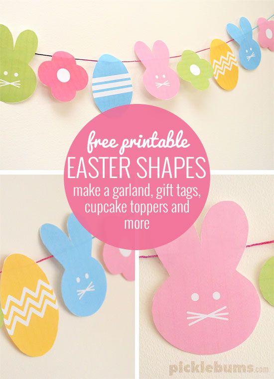 無料印刷イースターシェイプ - 花輪、ギフトタグ、カップケーキトッパー、より作るためにそれらを使用する!