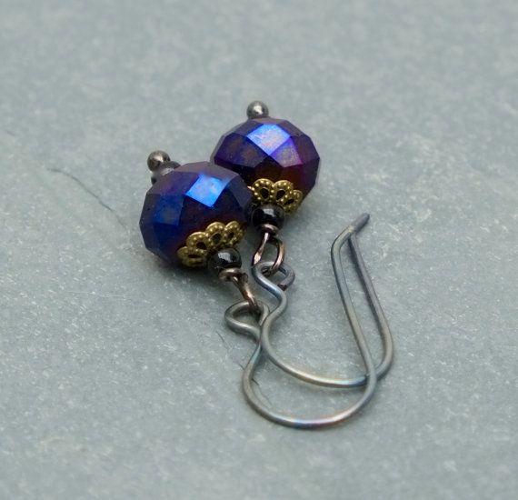 Purple earrings with titanium ear wires by BijoubeadsLondon