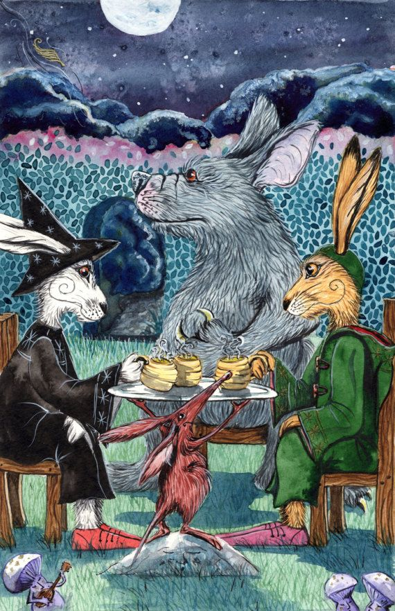 A Cup of Brottleleaf Brew - A3 Print by Jacqui Lovesey from 'The Riddle of Trefflepugga Path' - fantasy art witch  hare print.