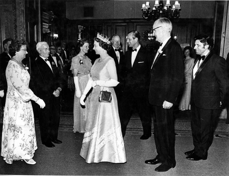 Jul 1975 - Master and Misstress Cutler, Sir Eric and Lady Mensforth being presented to  Queen Elizabeth II by Gerard Young, Lord Lieutenant of South Yorkshire with  H.R.H. Duke of Edinburgh, Mr. and Mrs Graham Murray  in the background at the Cutlers Hall