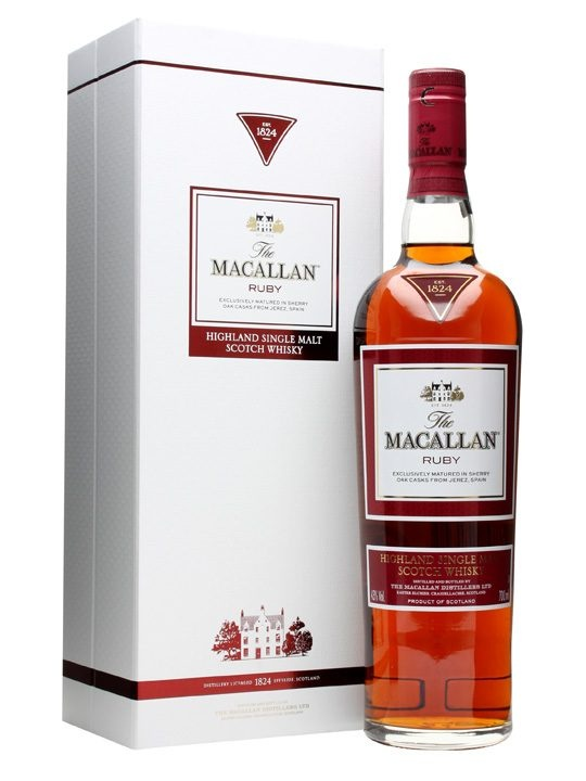 Macallan Ruby / The 1824 Series : Buy Online - The Whisky Exchange - The top of Macallans 1824 Series, aged in sherry casks and tinged a deep ruby red by the experience. The richest and deepest coloured in the range, its appearance is entirely natural, having drawn...