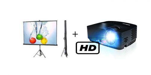 חבילת מקרן HD + מסך הקרנה 1.80 על חצובה