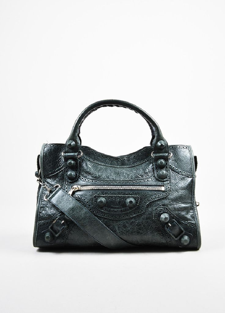 "Dark Green Balenciaga Leather ""Covered Giant City Brogues"" Bag"
