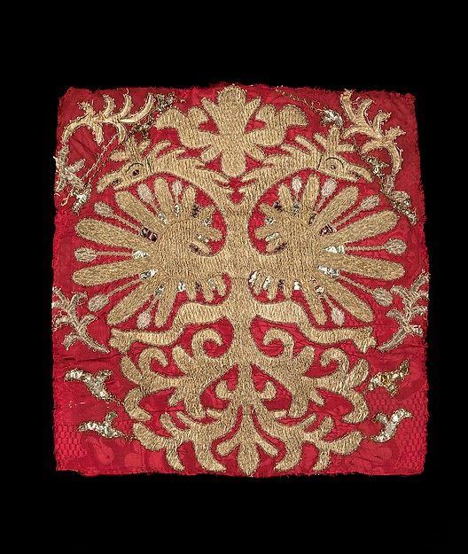 Headdress Date: 19th century Culture: Russian Medium: silk, metal, linen Dimensions: 13 1/2 x 13 1/2 in. (34.3 x 34.3 cm)