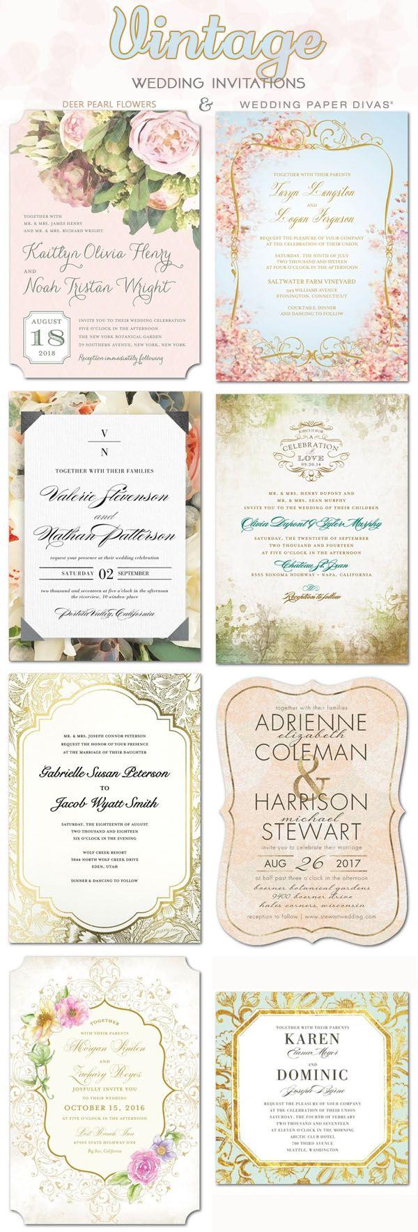 Vintage wedding ideas - vintage wedding invittaions / http://www.deerpearlflowers.com/wedding-paper-divas-wedding-invitations/