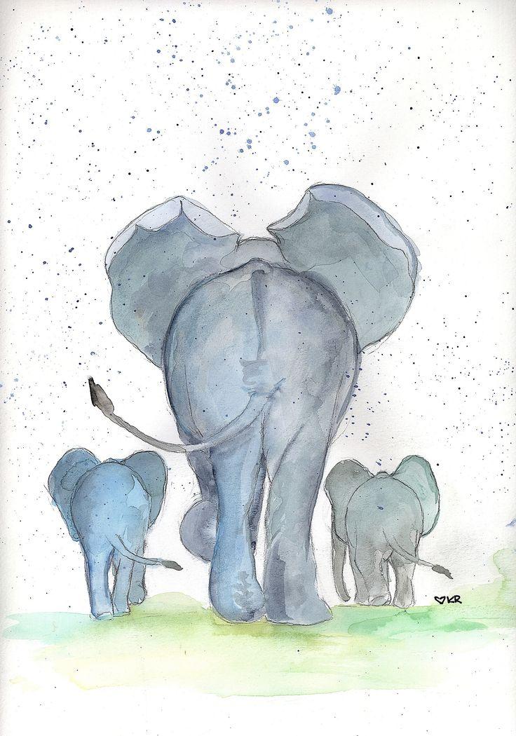Elephant Family Watercolor