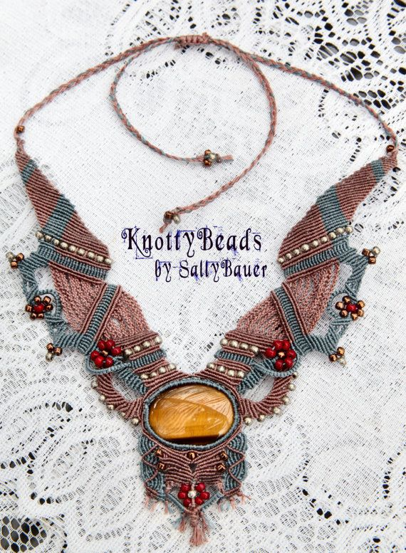SALE ~ Knotted Elegance ~ Macrame Necklace ~ Tiger Eye Cabochon ~ Blue, Red, Silver, Copper and Brown