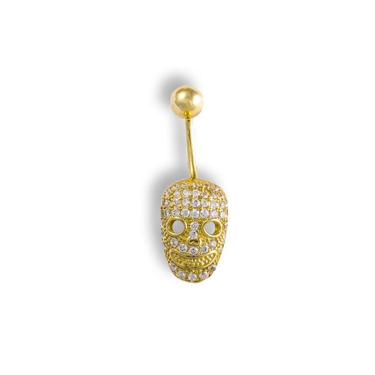 """Luxusní Zlatý piercing do pupíku """"LEBKA"""