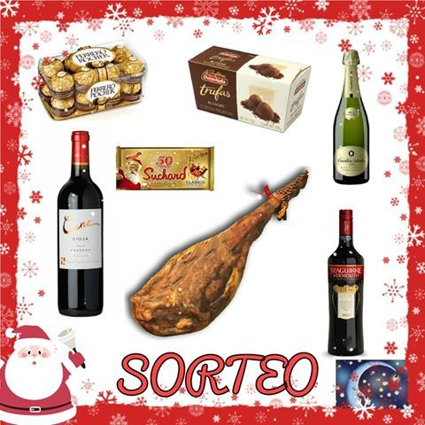Por vosotros, vamos a sortear éste fantástico lote navideño. Se compone de: - 1 jamón - 1 botella de cava - 1 botella de Vermouth - 1 botella de vino negro - 1 caja bombones - 1 caja de trufas - 1 tableta de turrón
