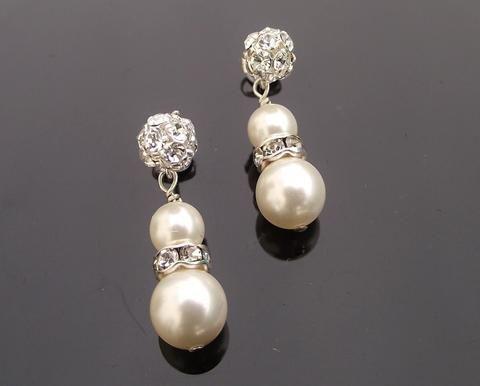 Wedding Earrings - Crystal Encrusted Pearl Drop Earrings, Sorrento
