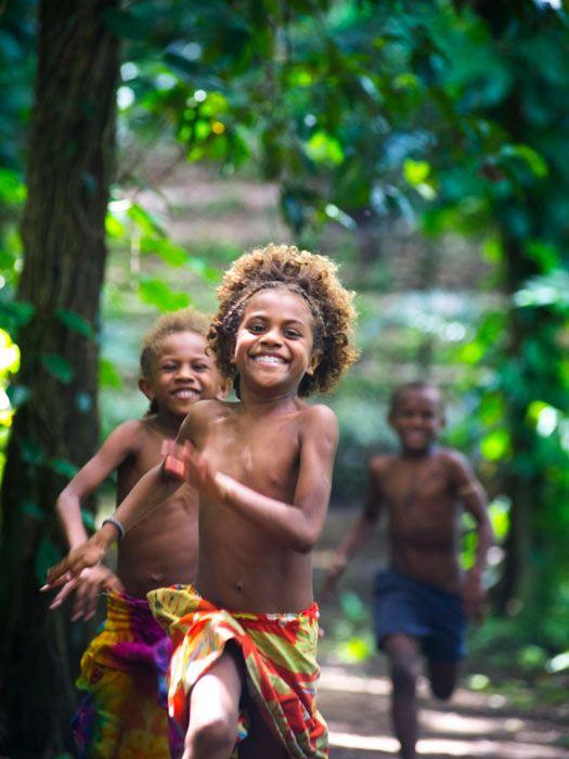 Tafutuna Cultural Village, Tanna Island. Children at play. Photo by David Kirkland/Vanuatu Tourism Office