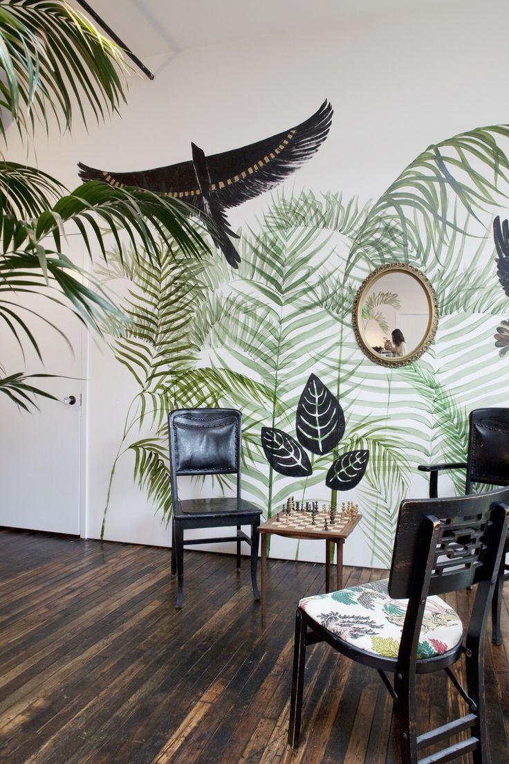 Тропический стиль, настенная роспись   #настеннаяроспись #тропическийстиль